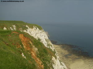 The white cliffs and beaches below